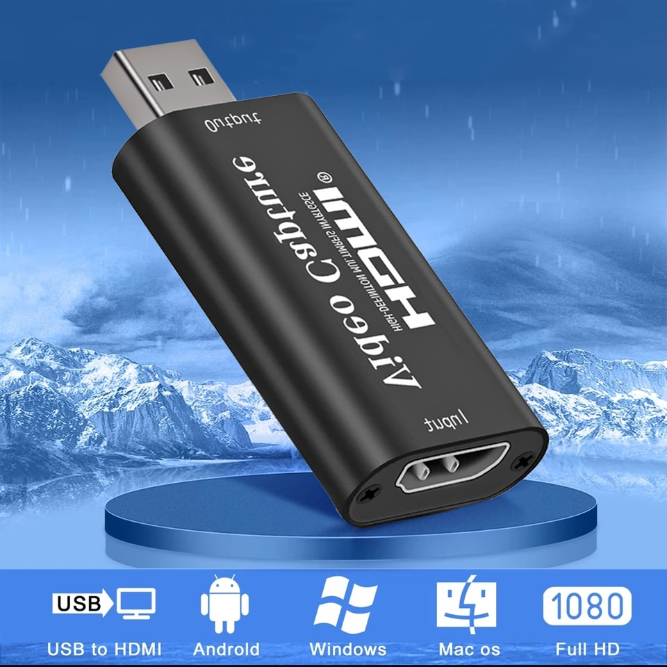 AIXXCO 4K Video USB 3.0 capture HDMI card Video Grabber Record Box for PS4 Game DVD Camcorder Camera Recording Live Streaming